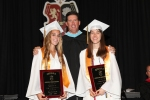 Valedictorians Lexi Crommett and Nicole Madro with Principal Tom Wazsak