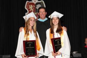 Valedictorians Lexi Crommett and Nicole Madro with Principal Tom Wazsak
