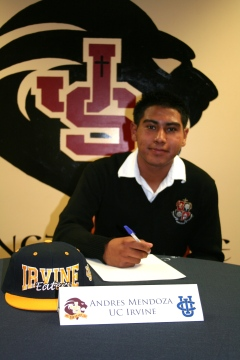 Andres Mendoza, JSerra senior and soccer center midfielder commits to UC Irvine.