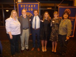 L-R: Judges Roz Westra and Peter Hornby, contest winners Daniel Bondi, Annie Pfost, Madison Roush and Rotary Club president Carol Daderian. Credit Penny Arévalo