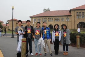 From left: JSerra Catholic High School students Aaron Komatsuzaki, Michael Chen, Leaf Ye, Jason Liu, Judy Cao and Silvie Zhang, participated in the annual Stanford Math Tournament.