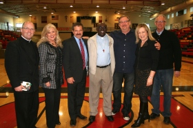 (left to right): Father Dan Wilder , Elizabeth, Dr. John Freeh Father Ubald, Pastor Rick Warren,  Kay Warren, and Rwandan Bob