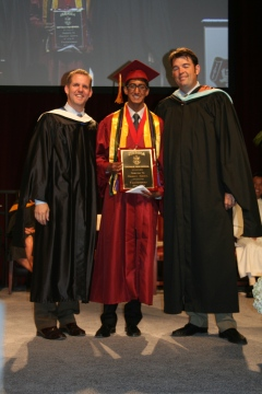 (left to right): President Richard Meyer, Valedictorian Sachin Govil, and Vice Principal Eric Stroupe